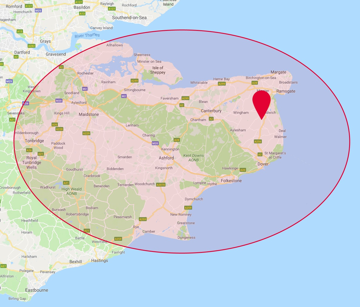 PA Hollingworth, Electricians & Electrical Contractors in Kent - Coverage Map